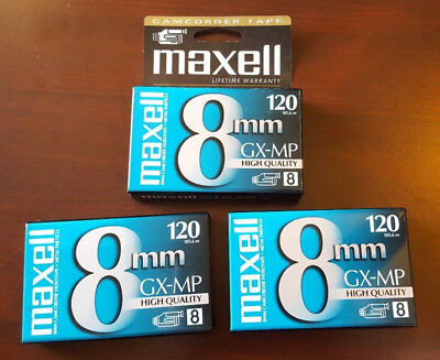 Lot of three NEW camcorder tapes Maxell 8mm P6-120 GX - MP High Quality