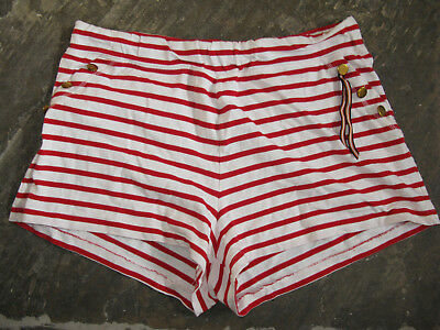 Holly & Whyte red white striped shorts summer holiday festival hot pants L