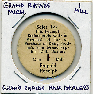Grand Rapids Michigan 1 Mill Token on Dairy Purchases MI-L1c