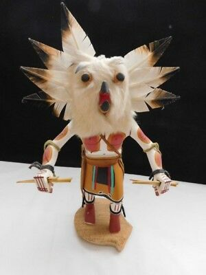 """Vintage Native American Carved Kachina Doll - """"white Owl"""" Signed"""