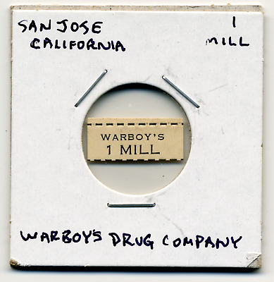 1933 San Jose California Warboy's Drug Co. 1 Mill CA-L14Ab