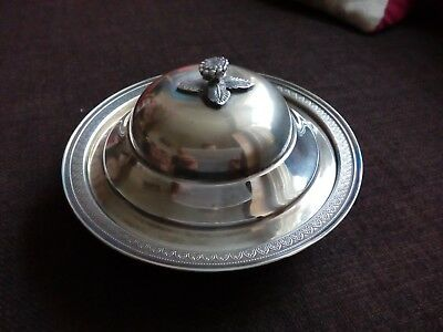 solid silver 900 grade flower finial trinkit dish and cover, 170g