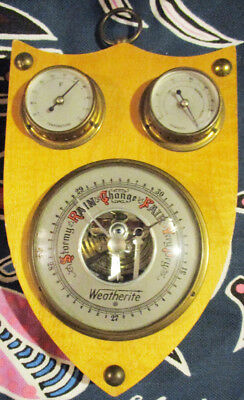 WEATHERITE BAROMETER THERMOMETER & HUMIDITY Gauges On Wood Plaque MADE GERMANY