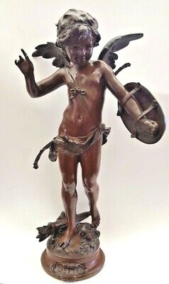 "Original 19 C French 22"" H Bronze Cherub Figurin Of ""Alerte"" By August Moreau"