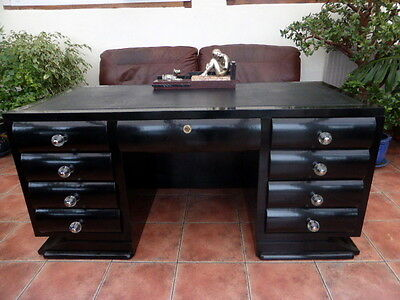 Art Deco Ebonised Double Pedastal Courtesy Desk  1920,s Free Shipping