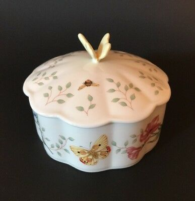 Lenox Fine Ivory China~ Butterfly Meadow ~ Trinket Box With Liner