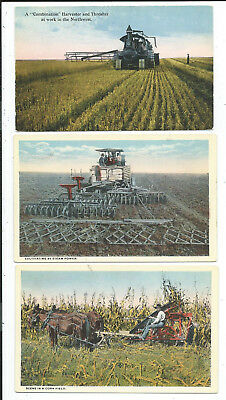 3 Postcards Farming Related Cultivating Tractors Harvesting Horse Drawn Swatter