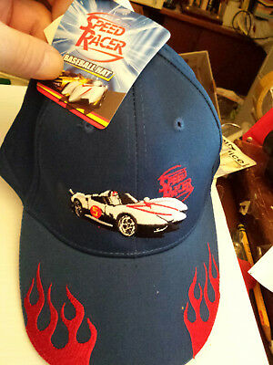 Boys Speed Racer Logo Cap Mach 5 Racer X Car Embroidered blue Hat  NEW WITH TAGS