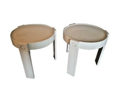 2 white vintage design bed side tables  produced for Habitat in the 1970s