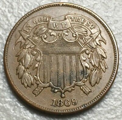 1869 Two 2 Cent XF Sharp Coin E-18