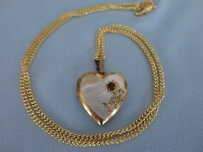 """Vintage Antique Yellow Gold Filled Mother of Pearl Heart Locket & 18"""" Chain"""