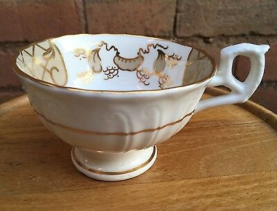 Set of 5 Antique Victorian White & Gilt Gaudy Welsh Cups