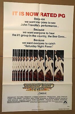 1977 Saturday Night Fever Rated PG Full Size Movie Poster Travolta