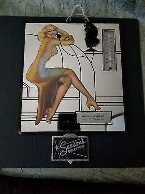 Vintage Art Deco Pin Up Telephone Advertising Mirror Reverse Painted Thermometer