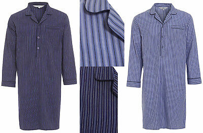 Mens 100% Cotton Nightshirt Striped Night Shirt Blue Bed Sleep Shirt Buttoned