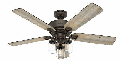 Hunter Devon Park With 3 Lights 52 Inch Brown Ceiling Fan  With Remote Control