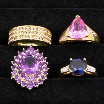 Sterling Silver - Lot of 4 HSN Designer Gemstone Cocktail Rings - 30.5g