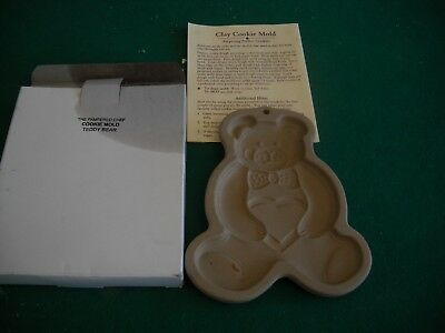 "Teddy Bear The Pampered Chef Clay Cookie Mold 1991 Usa 6"" Tall X 5"" Wide"