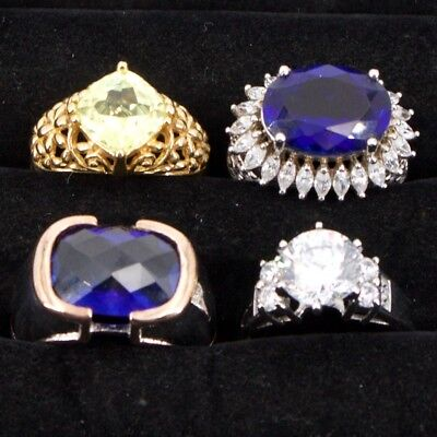 Sterling Silver - Lot of 4 HSN Designer Gemstone Cocktail Rings - 34g