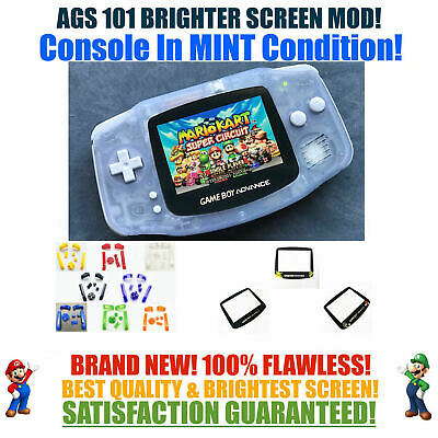 Nintendo Game Boy Advance GBA Glacier System AGS 101 Backlit Mod RECHARGEABLE!