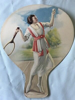 1920's Mueller Hot Houses Die-cut Cardboard  Advertising Hand Fan, Tennis Woman