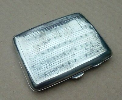 1929 Art Deco Sterling Silver Curved Cigarette Case G Randle