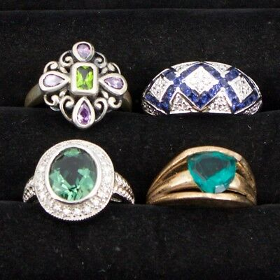Sterling Silver - Lot of 4 HSN Designer Gemstone Cocktail Rings - 27g