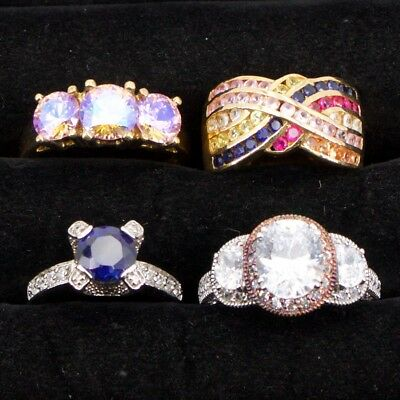 Sterling Silver - Lot of 4 HSN Designer Gemstone Cocktail Rings - 28g