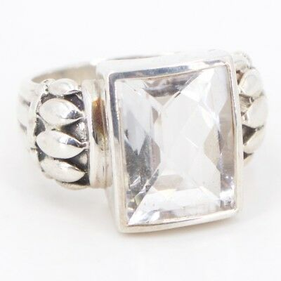 Sterling Silver - Signed Genuine Crystal Cocktail Ring Size 12 - 15g