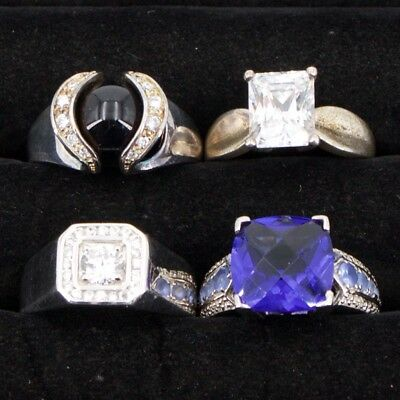 Sterling Silver - Lot of 4 HSN Designer Gemstone Cocktail Rings - 31g