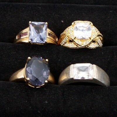 Sterling Silver - Lot of 4 HSN Designer Gemstone Cocktail Rings - 30g