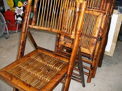 Set Of 4 Vintage Bamboo Folding Chairs