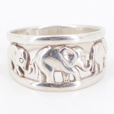 Sterling Silver - Elephants Cutout Tapered Band Ring Size 10 - 5.5g