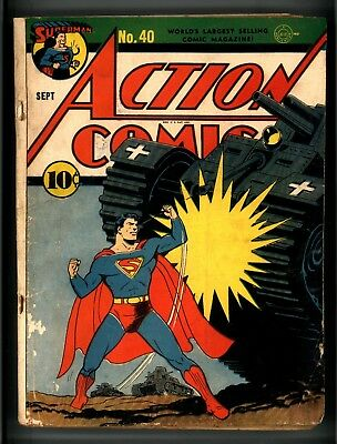 Action Comics #40 Double Cover But Incomplete Missing Centerfold Ww Ii Cover