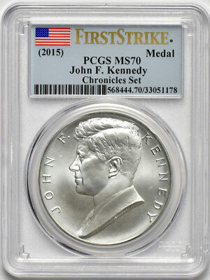 2015 1oz Silver John F Kennedy Medal from Chronicles Set PCGS MS70 FirstStrike