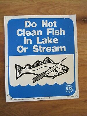 US Forest Service Plastic Sign Do No Clean Fish in Lake Vintage