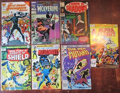 Bronze Age Lot of 7 Number 1 Issues  New Mutants, Wolverine, Fury, Alpha Flight