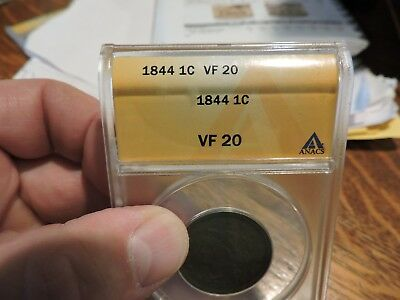 1844 1C Large Cent  Braided Hair  Anacs Vf 20