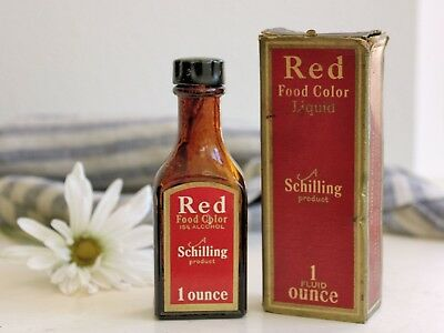 Antique Vintage Schilling Red Food Coloring Extract Amber Bottle Advertising Box