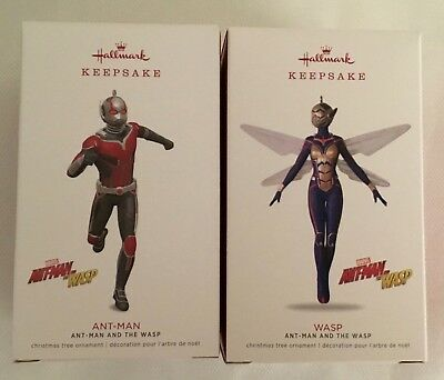 "2018 Hallmark Ornament Set ~ Marvel ~ ""Ant-man & Wasp (Limited Edition)"" ~ MNIB"