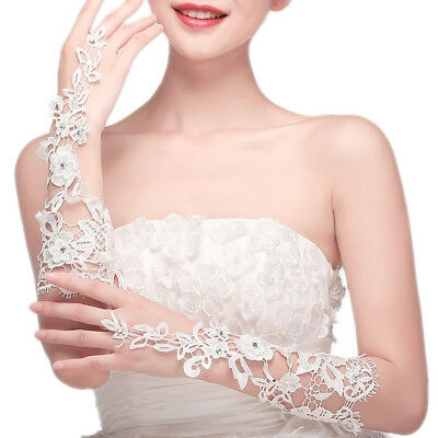 Premium Lace Floral Rhinestone Crystal Fingerless Wedding Party Bridal Gloves