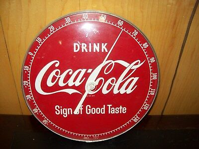"""1950's COCA-COLA """"PAN STYLE"""" THERMOMETER  Sign of good taste"""