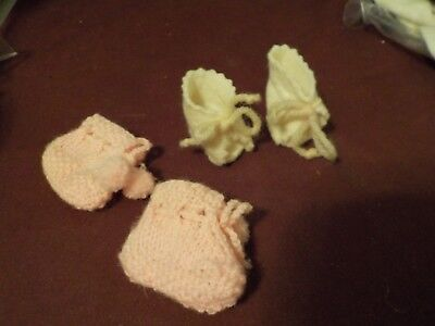 Vintage Handmade Pair Of Booties 1 Pink Crocheted And 1 White Felt 2 Inches