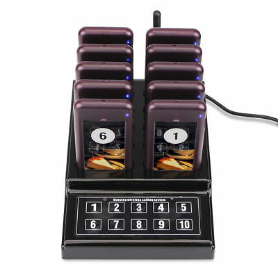 Wireless Restaurant 1XTransmitter+10XPager Guest Calling Page Queuing System US