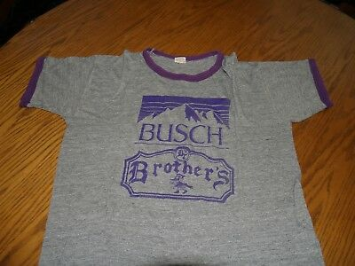 Vtg~1980's~Busch Brothers~Beer~Groucho~T-Shirt~Sz Xl~Ringer~Heathered Gray