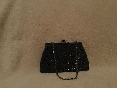 Moni Couture Black Beaded Bag with kiss lock