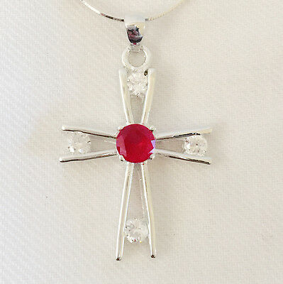 New 925 Sterling Silver Ruby Red CZ Holly Cross Charm Crystal Pendant Necklace A