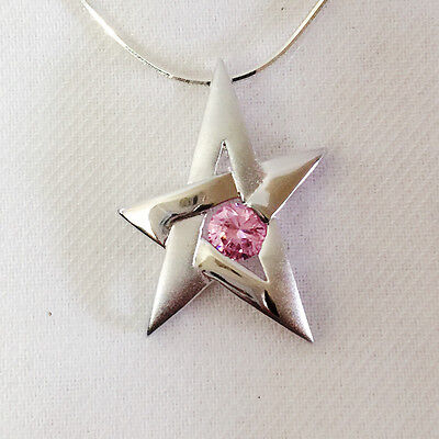 Nw 925 Sterling Silver Pink CZ Shiny Star Charm Crystal Pendant Necklace PD1316A