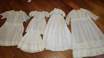 Five piece lot Antique Edwardian Child Dresses sheer white
