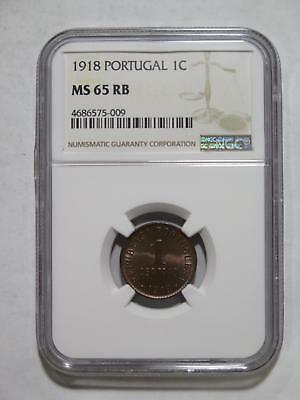 Portugal 1918 1 Centavo Toned Gem Ngc Ms65 Graded World Coin Collection Lot